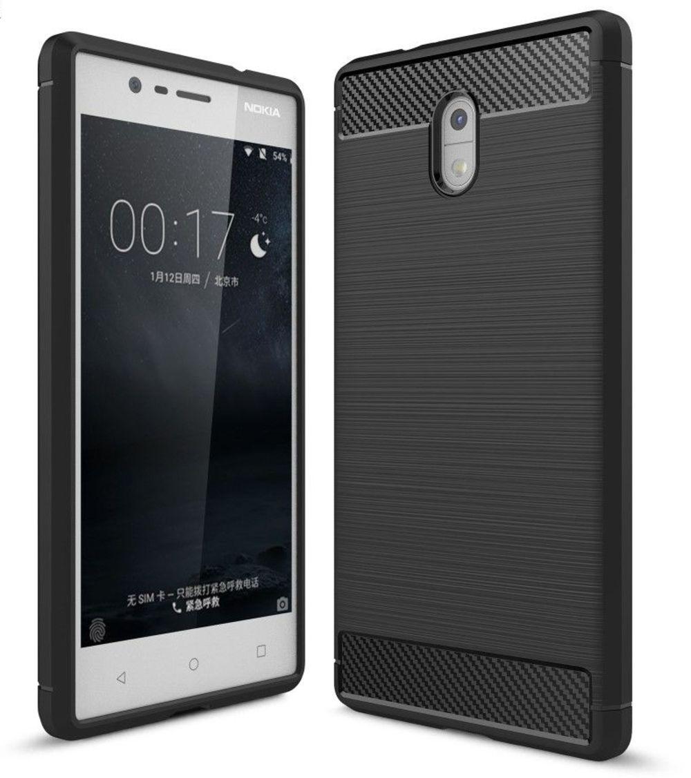 Image of   Nokia 3 - TPU cover med børstet design - Sort