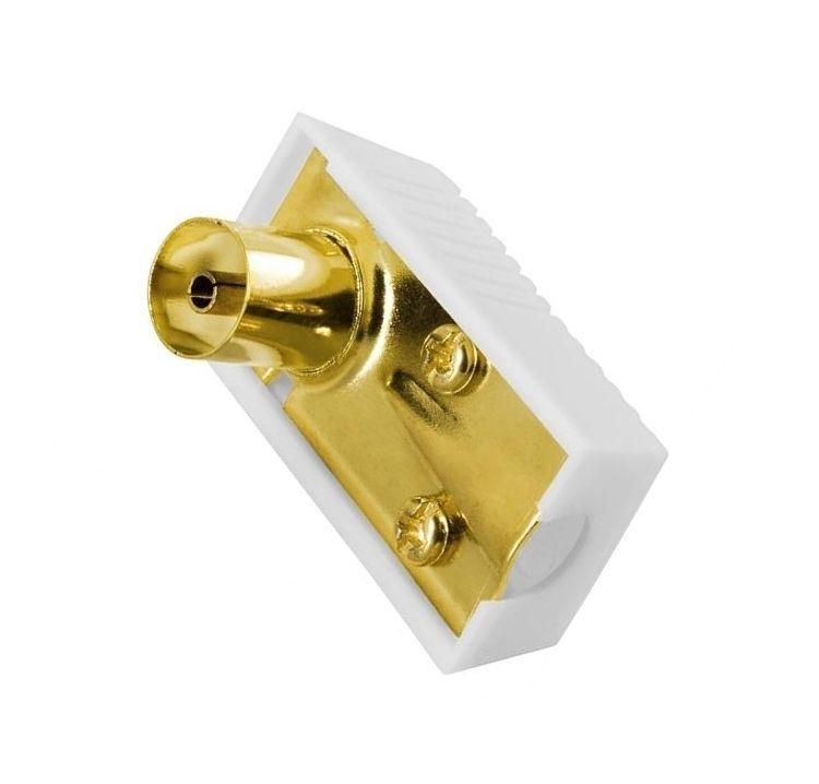 Antennestik, 9,5mm hun, vinklet - guldpletteret stik - Livstidsgaranti