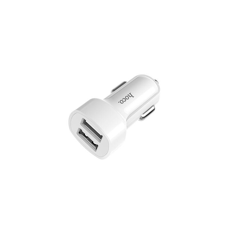 Billede af HOCO Dual USB 2.4A oplader adapter til bilen - Hvid